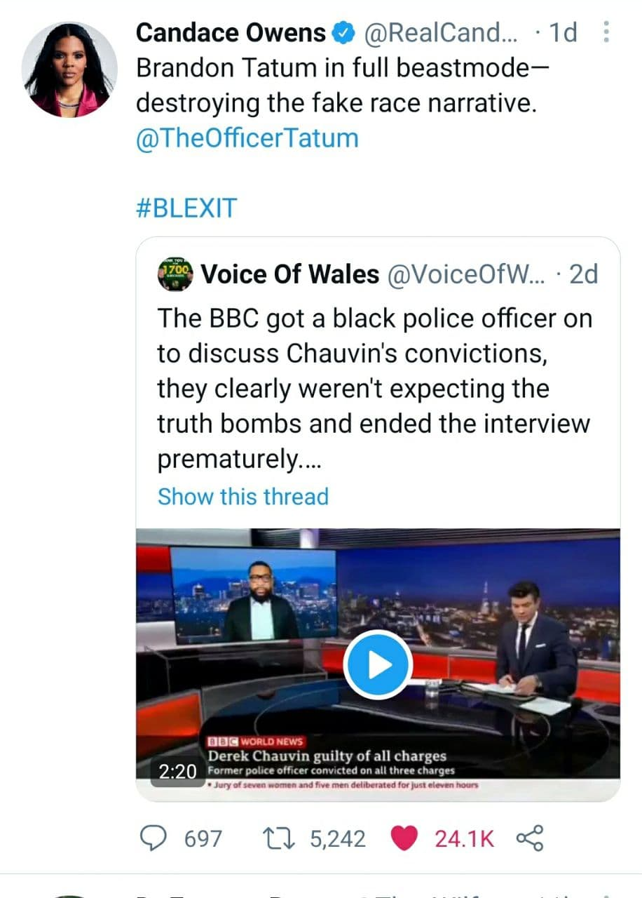 Candace Owens Voice Of Wales Tweet