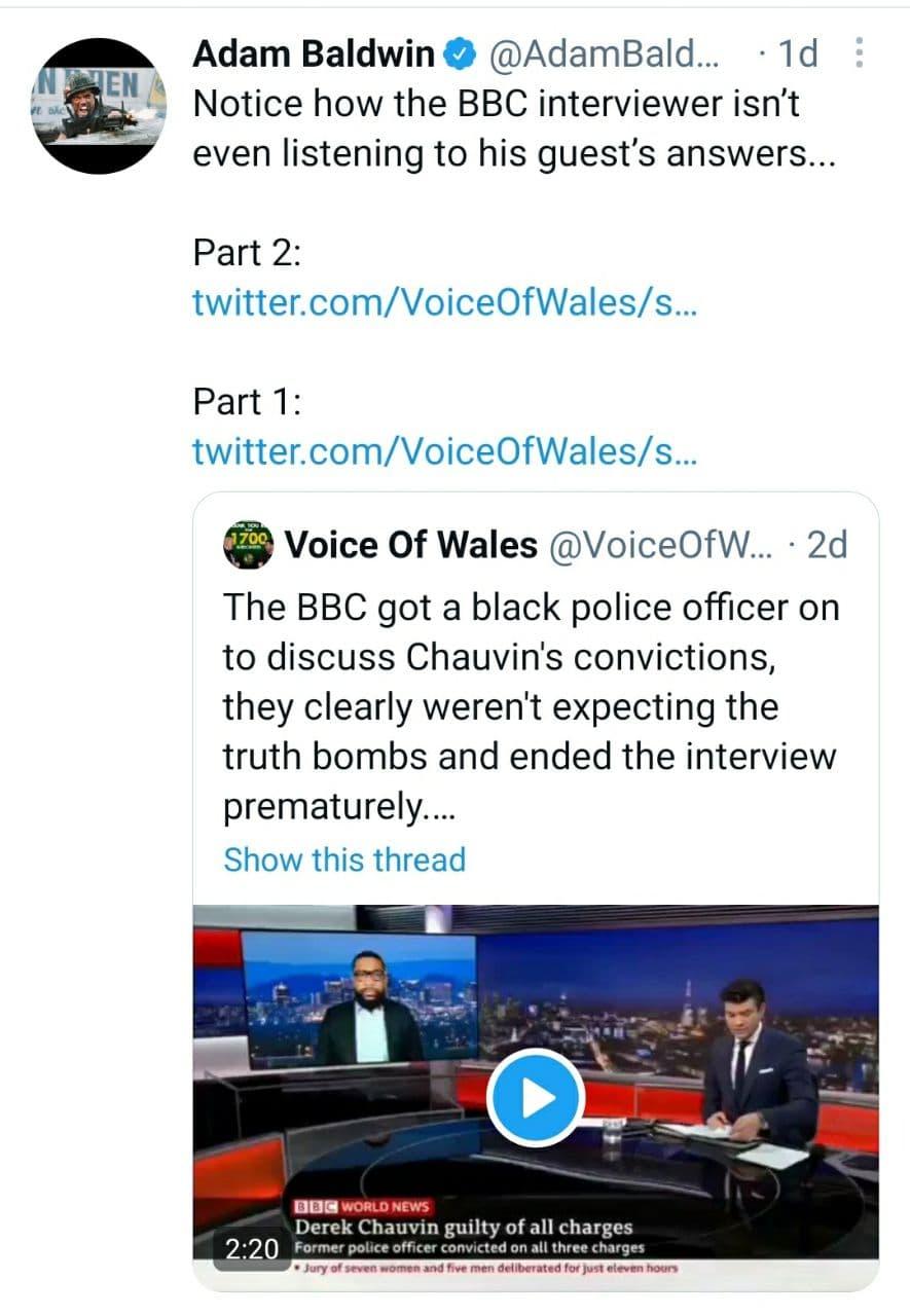 Adam Baldwin Voice Of Wales Tweet