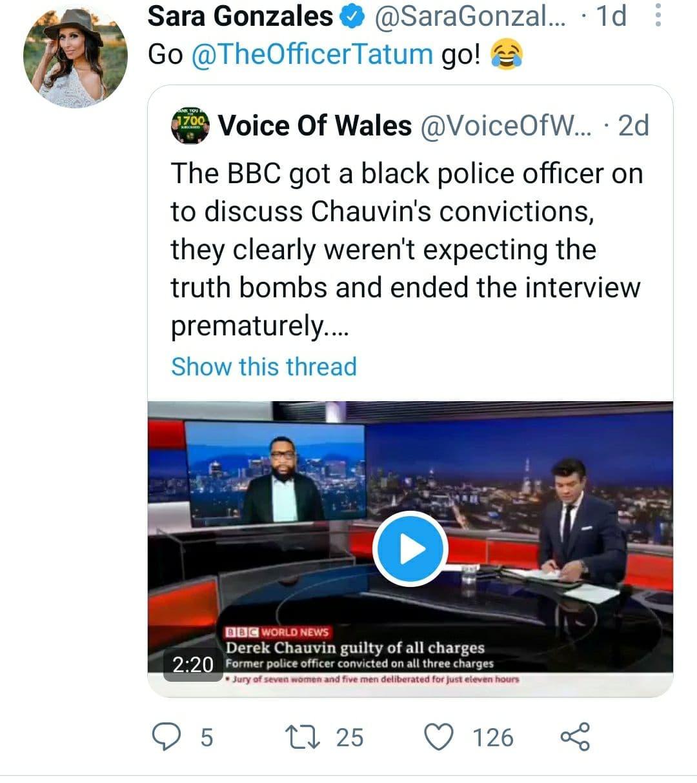 Sara Gonzales Voice Of Wales Tweet